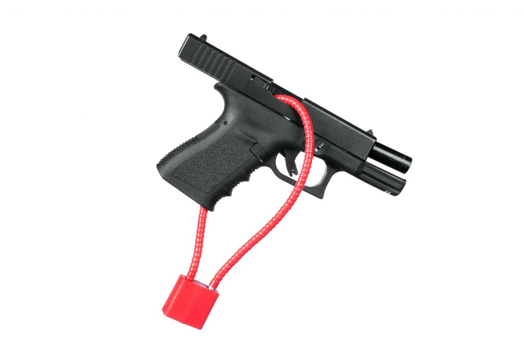 gun stored properly with lock for safety